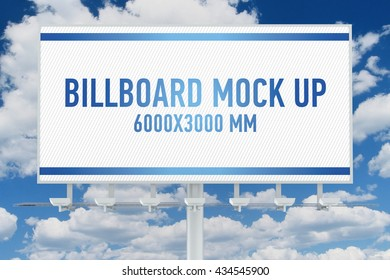 Billboard mock up on sky background. 3D illustration
