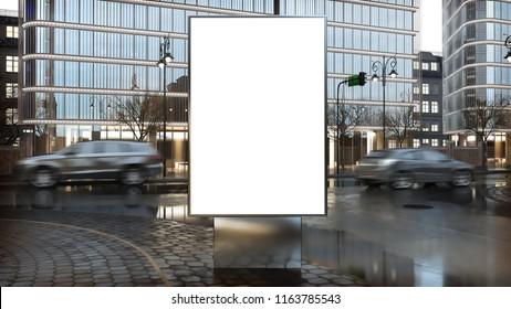 billboard mock-up on city downtown 3d rendering