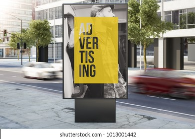 billboard on city street advertising 3d rendering
