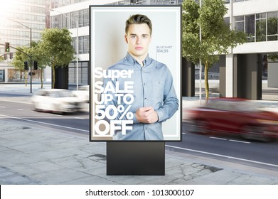 billboard on city street fashion advertising 3d rendering