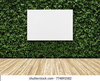 Billboard on green wall of plants. Vertical garden. 3D illustration.