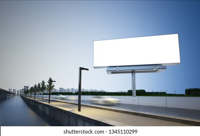 billboard on highway 3d rendering mockup