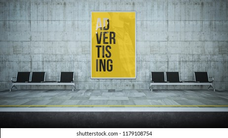 billboard poster advertising on underground station 3d rendering