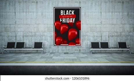 billboard poster on underground station 3d renderingblack friday