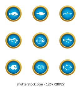 Billet icons set. Flat set of 9 billet icons for web isolated on white background