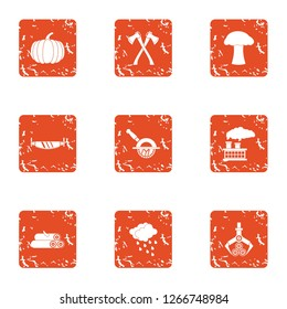 Billet icons set. Grunge set of 9 billet icons for web isolated on white background