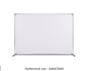 Billet press wall with blank banner for Mobile trade or press show. isolated on white. 3d rendering