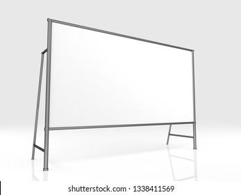 Billet press wall with blank banner 2x4. Mobile trade show booth white and blank. 3d render isolated on white background. High Resolution Template for your design.