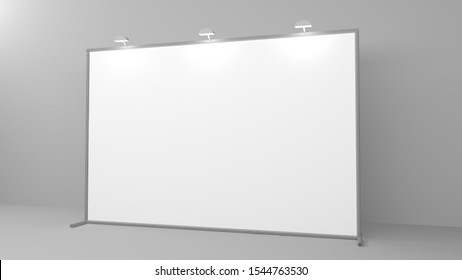 Billet press wall with blank banner. Mobile trade show booth white and blank. 3d render isolated on white background.