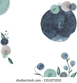Billets of watercolor elements, round forms, blueberries and flowers for design, invitations, cards