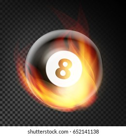 Billiard Ball  Realistic. Billiard Ball 8 In Burning Style. Transparent Background