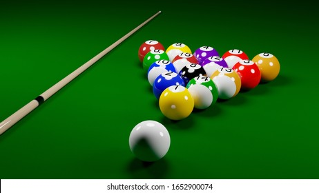 Billiard balls on the table with a cue. American billiards. 3D rendering.