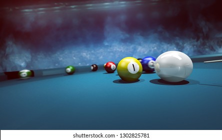 Billiard balls  billiard  tournament 3D Rendering