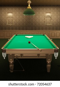 billiard or pool table in luxurious interior with pattern wallpapers. pocket a ball