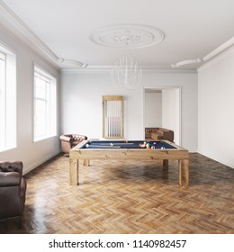 Billiard table in white classic interior with wooden parquet floor 3D render