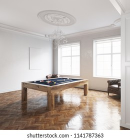 Billiard table in white classic interior with wooden floor 3D render