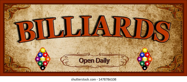 "Billiards sign with text ""Open Daily"" for your home or business."