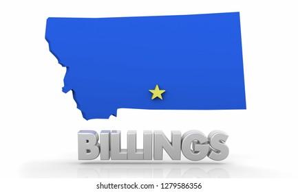 Billings Montana MT City State Map 3d Illustration
