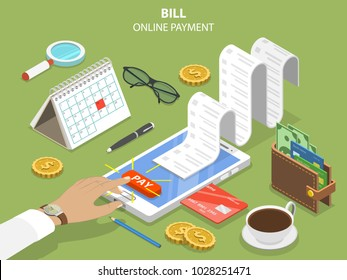 Bills online payment flat isometric concept of mobile payment, shopping, banking.