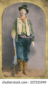 Billy the Kid 1859-8 1 killed twenty two men during his short life of 21 years Print from THE STORY OF THE OUTLAW 1907 with modern color.