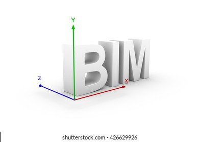 BIM axis 3d illustration