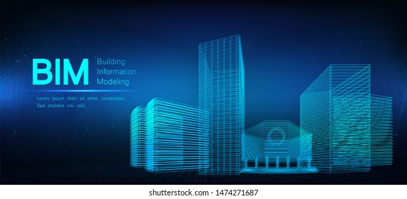 BIM - building information modeling. The concept of business. Industry construction, from start to finish. Building information modeling concept