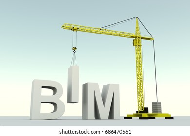 BIM concept building crane white background 3d illustration