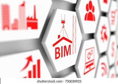 BIM concept cell blurred background 3d illustration