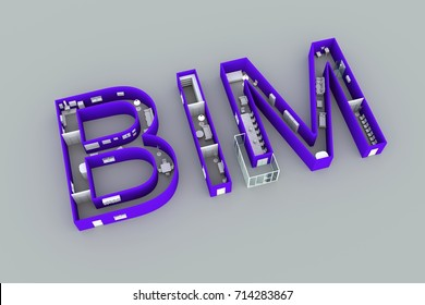 BIM concept interior text white background 3d illustration