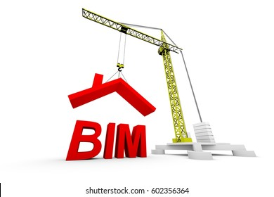 BIM crane building white background 3d illustration