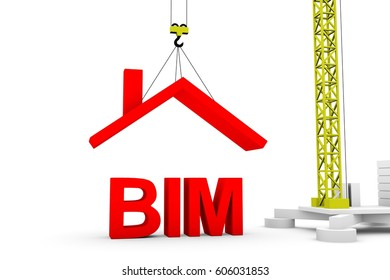 BIM in the form of a house under construction crane 3D illustration