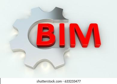 BIM gear wheal  white background 3d illustration