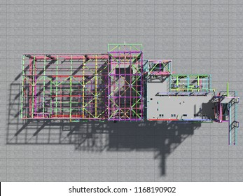 BIM model of a building made of metal construction, metal structure. 3D architectural, construction, industrial and engineering background. 3D rendering.