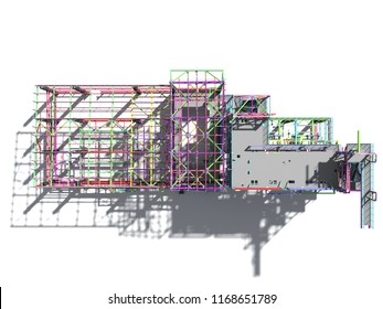 BIM model of a building made of metal construction, metal structure. 3D architectural, construction, industrial and engineering background. 3D rendering. Isolated.