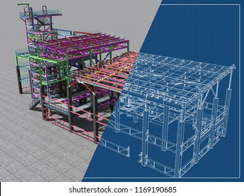 BIM model of a building made of metal construction, metal structure. 3D architectural, construction, industrial and engineering background. 3D rendering. Drawing blueprint.