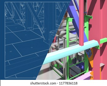 BIM model of a building made of metal structure. 3D architectural, construction, industrial and engineering background. Modern design drawings. 3D rendering. Blueprint.