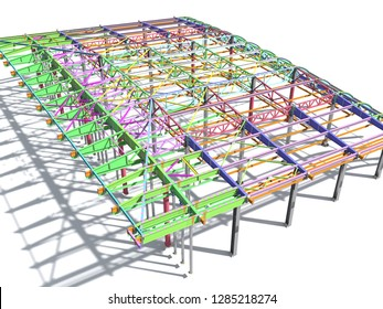 BIM model of metal structure. The building is made of metal structures. Building information model. Architectural, engineering and construction background. 3D rendering. White background.