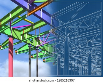 BIM model of metal structure. The building is made of metal structures. Building information model. Architectural, engineering and construction background. 3D rendering. Drawing blueprint.