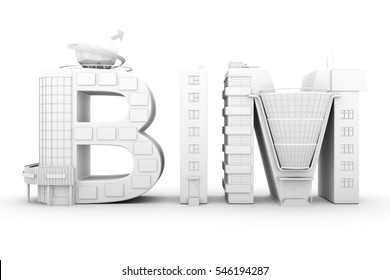 BIM in the shopping center over white background 3D illustration