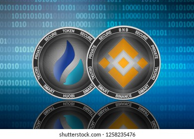Binance (BNB) and Huobi Token (HT) coins on the binary code background; binance vs huobi