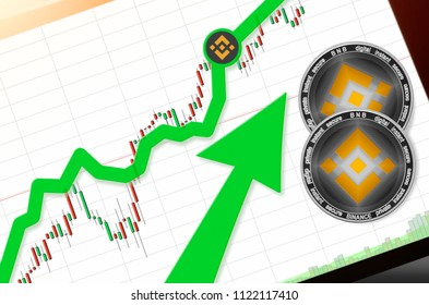 BINANCE (BNB) index rating go up on exchange market; cryptocurrency chart on tablet pc (smartphone) with arrow pointing up and coins BINANCE. Place for text (prices); top view