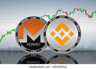 Binance (BNB) and Monero (XMR) coins on the background of the chart; binance and monero cryptocurrency; crypto exchange. 3d illustration