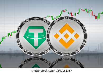 Binance (BNB) and Tether (USDT) coins on the background of the chart; binance and tether cryptocurrency; crypto exchange. 3d illustration