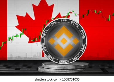 Binance Canada; binance Coin (BNB) on the background of the flag of Canada. 3d illustration