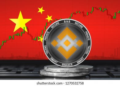 Binance China; binance (BNB) coin on the background of the flag of China