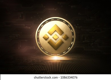 Binance Coin - BNB - 3D Cryptocurrency Coin - Front View