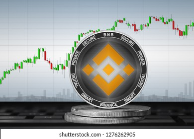 Binance Coin (BNB); cryptocurrency coins - Binance on the background of the chart. 3d illustration