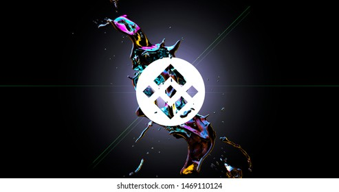 Binance Coin (BNB) Cryptocurrency Symbol Flashes from a Splash of Dark Matter. 3d Rendered Background. Currency Growth Concept.