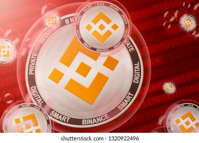 Binance Coin crash; Binance coins in a bubbles on the binary code background. Close-up. 3d illustration