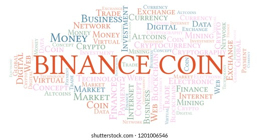 Binance Coin cryptocurrency coin word cloud.